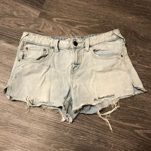 Free People Light Wash Denim Shorts